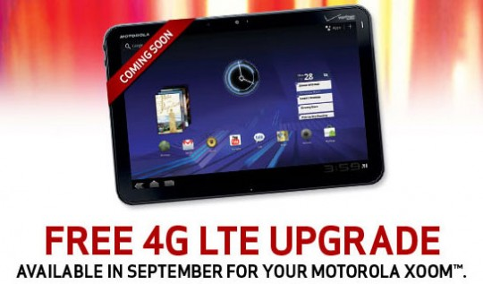 Verizon XOOM Tablet 4G LTE Upgrade begins today