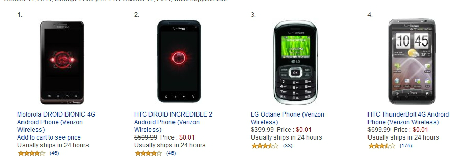 Amazon Penny-Pincher Sale: offers all Verizon Smartphones for just $0.01