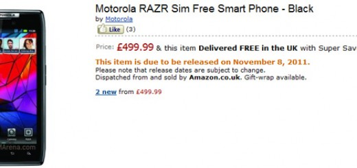 Motorola RAZR and Galaxy Nexus on Amazon UK with Price and Release Date; Verizon Droid RAZR for Pre-order starting November 27th