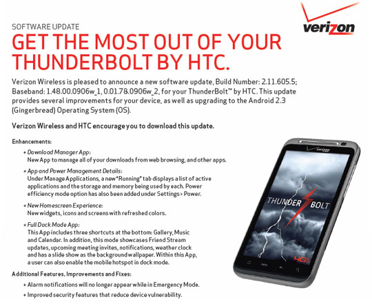 Verizon HTC Thunderbolt 2.3 Gingerbread Update released with Security Fix