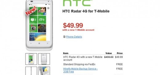 T-mobile HTC Radar 4G for just $49.99 at Wirefly on Contract