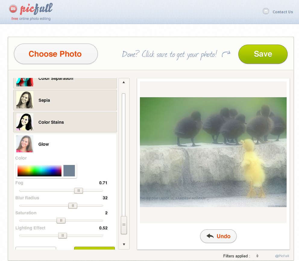 Picfull.com; change the look and feel of Your Picture and Share with the World