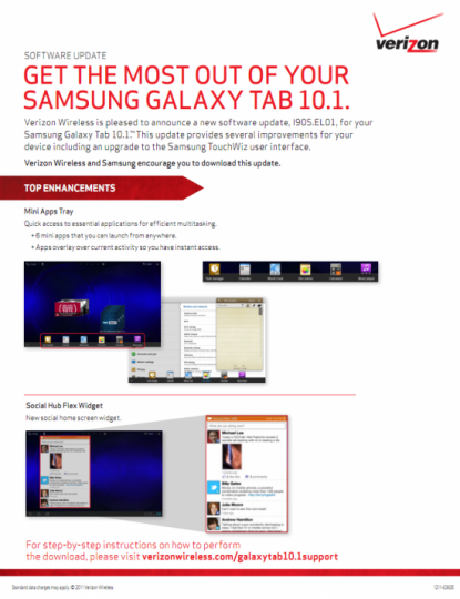 Verizon Samsung Galaxy Tab 10.1 to get an OTA Update soon