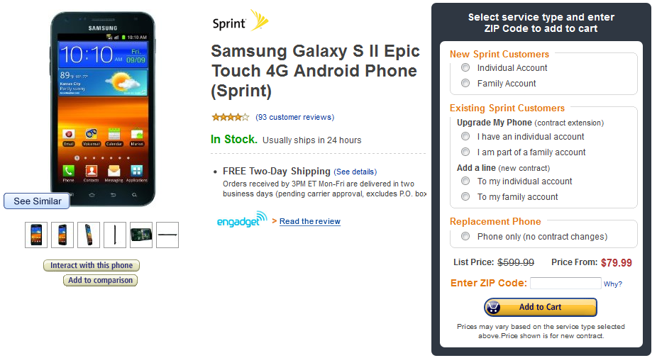 Amazon Deal: Spring Samsung Epic 4G Touch for just $79.99