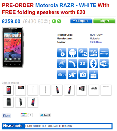 Motorola DROID RAZR White on pre-order at Clove UK