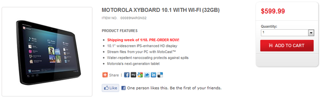 WiFi-only Motorola XYBOARD Tablets go on Pre-order; Shipping Date January 18