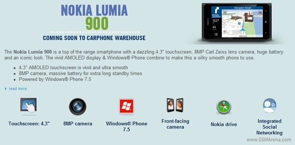 "Nokia Lumia 900 to hit Europe; Carphone Warehouse says as ""Coming Soon"""