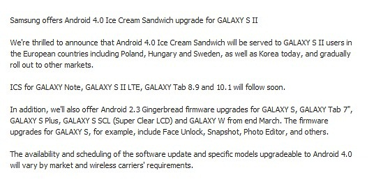 Samsung Galaxy S II 4.0 Ice Cream Sandwich Update releases; to hit in UK on March 19