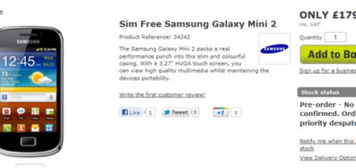 Samsung Galaxy mini 2 for Pre-order at the MobileFun UK; pricing £179.95