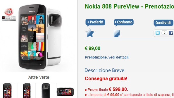 Nokia 808 PureView up for Pre-order in Italy; pricing €600