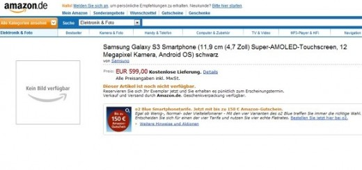 Samsung Galaxy S III up for Pre-order on Amazon; pricing €599