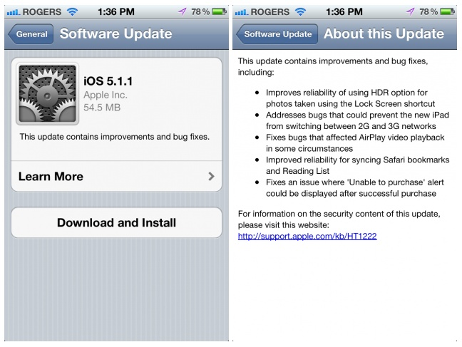 Apple releases iOS 5.1.0 Update with number of Bug Fixes