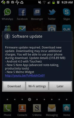 Samsung Galaxy Note Android 4.0 ICS Update releases
