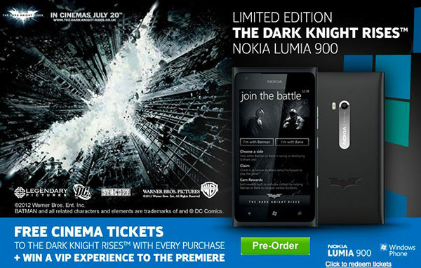 Nokia Lumia 900 Dark Knight Edition on Pre-order at Phones4U; pricing £600