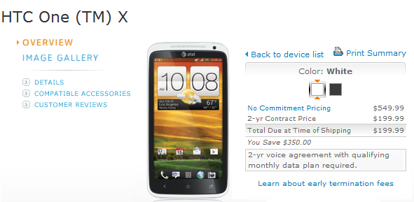 AT&T HTC One X LTE goes on Sale; pricing $199.99