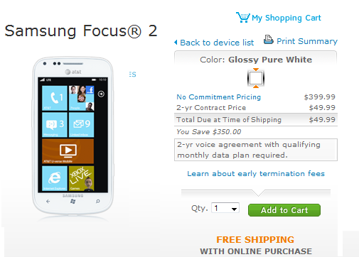 AT&T Samsung Focus 2 LTE released; pricing $49.99