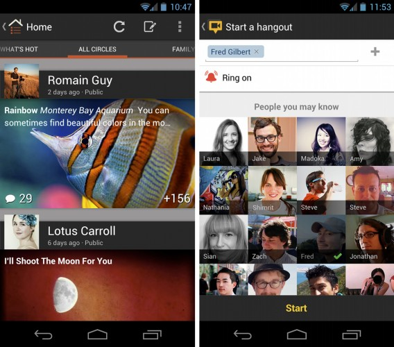 Google+ Android App updated with new UI and dedicated Hangout control