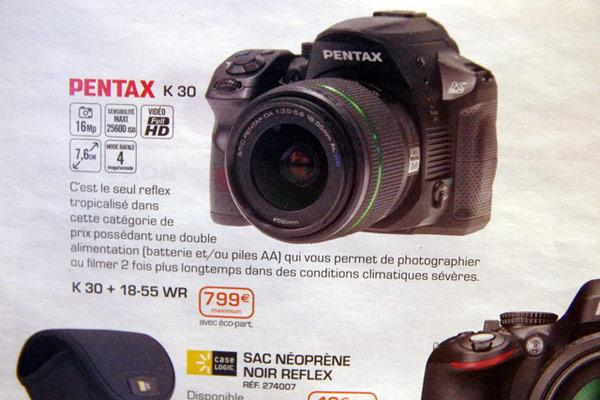 Pantax K-30 Camera spotted; pricing €799