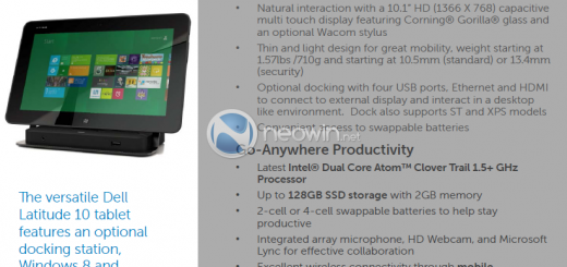 Dell Latitude 10 Windows 8 Tablet to release mid November; more details leak