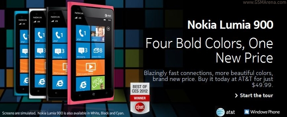 AT&T Nokia Lumia 900 gets Price cut; now for $49.99