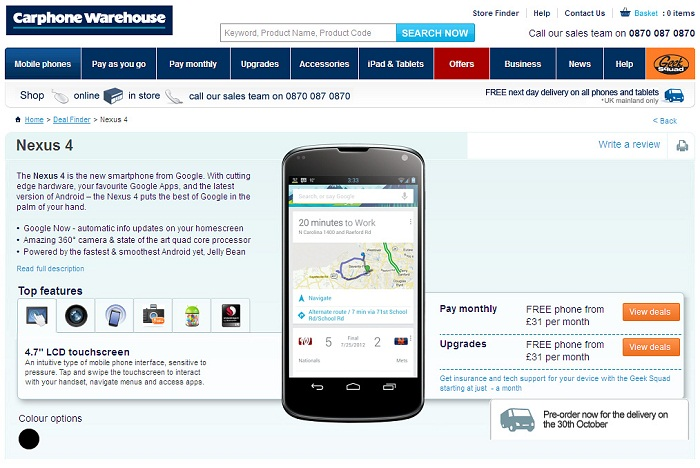LG Nexus 4 on Pre-order at Carphone Warehouse