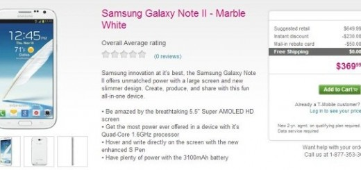 Samsung Galaxy Note II for T-Mobile on Sale; pricing $369