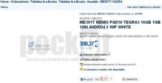 ASUS ME301T Memo Pad10 leaks; featuring Tegra 3 and Jelly bean