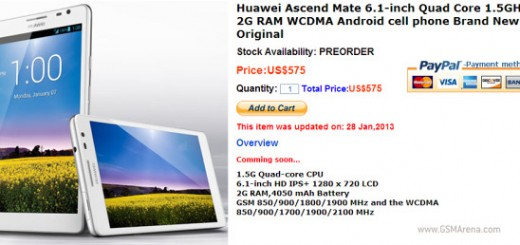 Pre-order for Huawei Ascend Mate begins in China; pricing $575