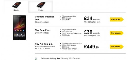 Sony Xperia Z Price and Release Date confirmed; Pre-order begins in UK