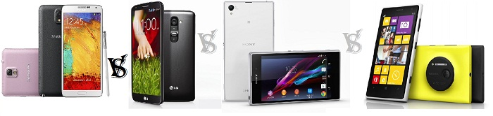 Samsung Galaxy Note 3 Vs LG G2 Vs Sony Xperia Z1 Vs Nokia Lumia 1020