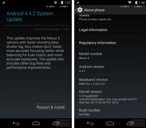Google starts feeding Android 4.4.2 update to Nexus Devices