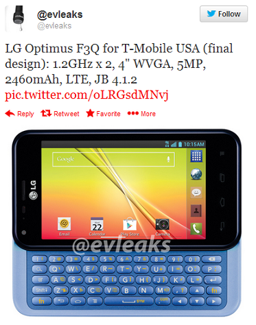 New image of T-Mobile LG Optimus F3Q leaks; Specs in tow