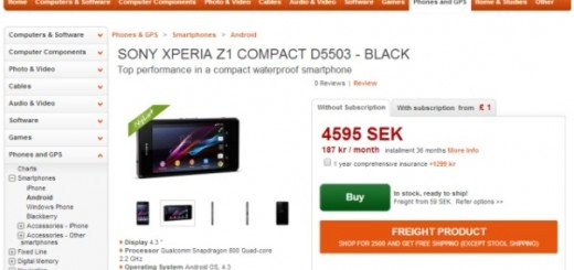 Sony Xperia Z1 Compact released in Sweden; pricing €520