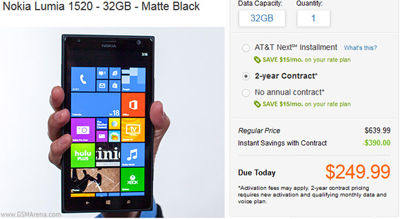 AT&T Nokia Lumia 1520 32GB goes on Sale; pricing $250
