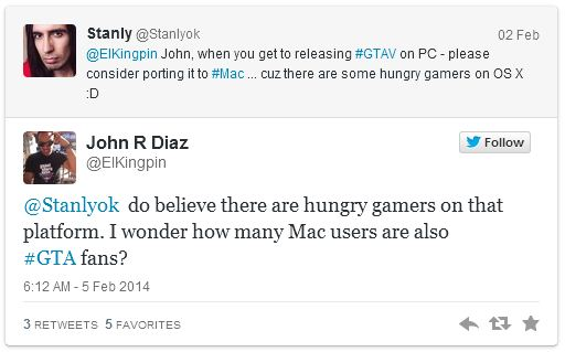 John Diaz Tweet 01 PC and Mac could soon get GTA 5