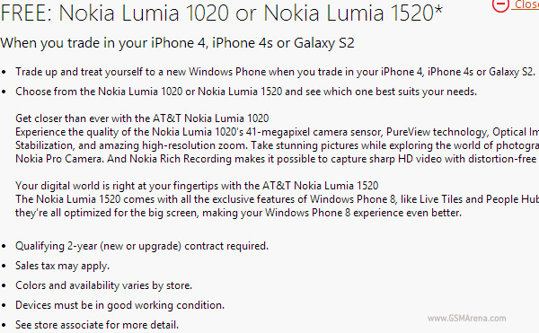 Microsoft Deal:  get new Lumia 1520 or 1020 for your iPhone 4/4S or Galaxy S2