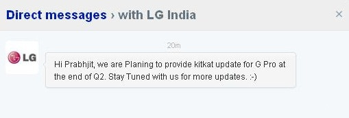 LG Optimus G Pro to get 4.4 KitKat update in Q2 2014
