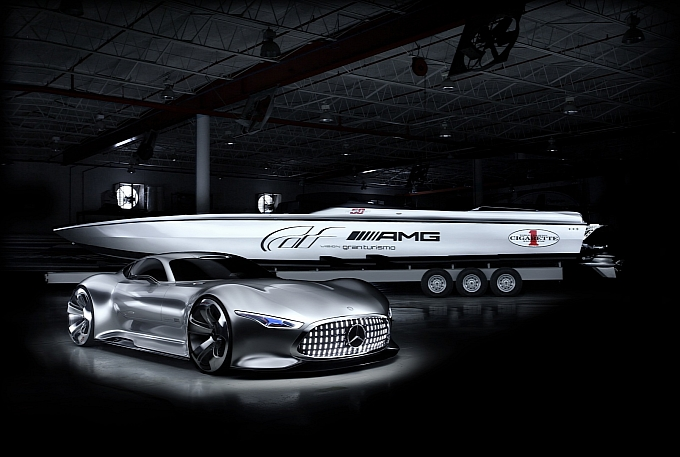 Mercedes AMG and Cigarette 50 Vision Gran Turismo Concpets at Miami Auto Show