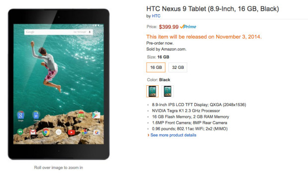 Google Nexus 9 Amazon pre-order