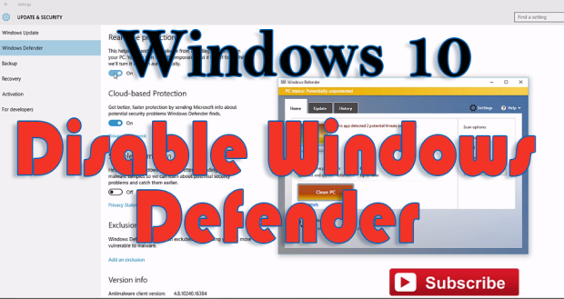 Turn of f Windows 10 defender completely