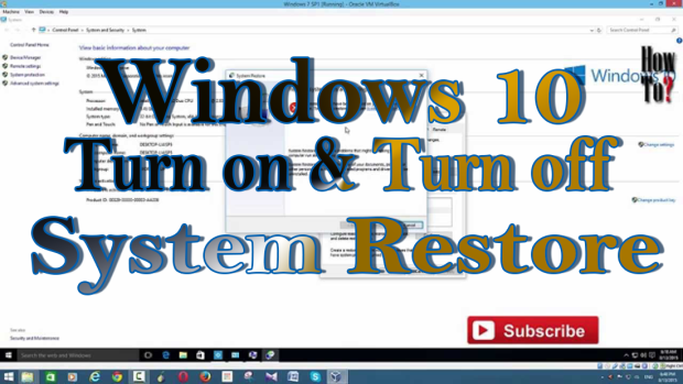 Turn on System Restore in Windows 10