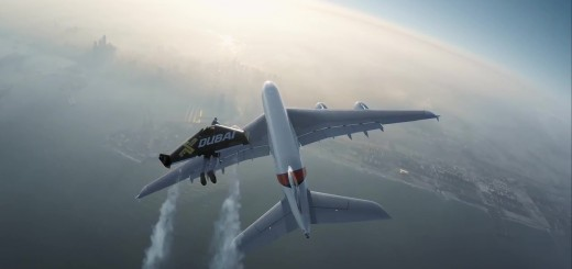Watch Two 'Jetmen' take to the skies alongside Emirates A380 passenger Aircraft