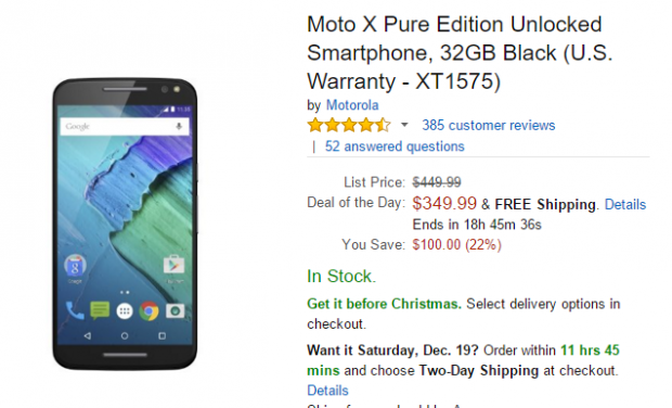 Deal: Motorola Moto X Pure gets $100 Price Cut at Amazon; €70 off in Europe