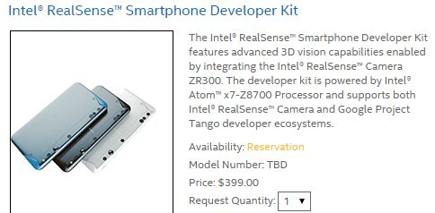 Intel launches RealSense 3D Camera / Project Tango Phone for Developers; pricing $399