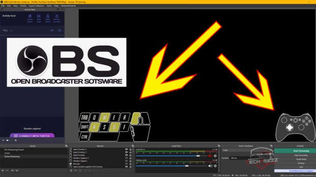 obs tips-show to show gaming controller and keyboard input overlay on videos and live stream